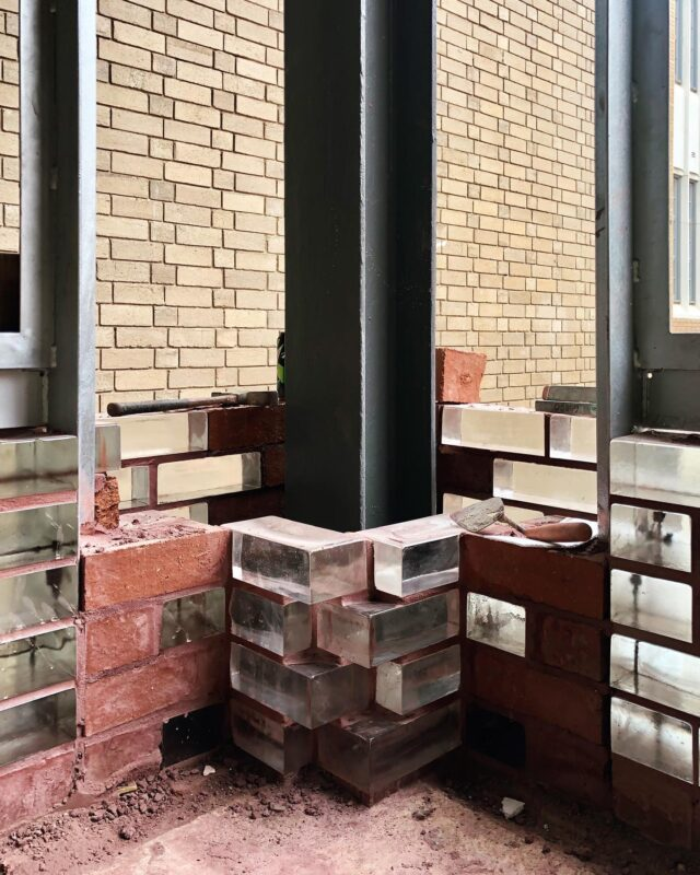EAT X NMBW @unimelb #newstudentprecinct  . We are on site at Building 1888! Possibly the world's first double skin solid glass bricks with opaque mortar for heritage purposes. . #glassbricksarenotbricks #architectseat® #unimelb #heritagearchitecture #retaildesign #wip #onsite #glassbricks