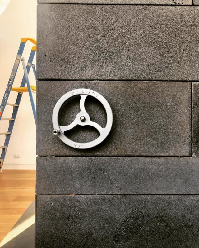 Crank wheel for a solid steel fireplace gate. By the geniuses at @blockconstructions 👌 #EATHawthornParkHouse #architectseat® #eathouses™  . am