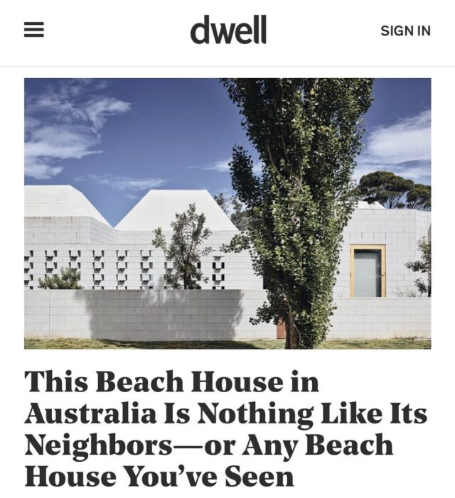 #EATBellowsHouse in @dwellmagazine 🙏🙏 . Though it'd be hard to tell from the street, the compound of concrete blocks forms a surprisingly breezy family retreat. . Words by #LaurenGallow @desert.ren  Photos by @derek_swalwell  . #architectseat® #eatinteriors #eathouses™ #eatinthemedia #beachhouse #residentialarchitecture #australianarchitecture