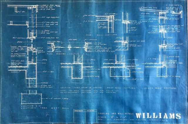 Re-searching 👓🟦🖊📐 . The Williams have very kindly passed on the construction documentations #blueprint 💙 by #peteranddionemcintyre #petermcintyre . #EATWilliamsMosHouse #architectseat® #eatinteriors #eathouses™ #kew #studleypark #modernist #modernistarchitecture #studleyparkmodern