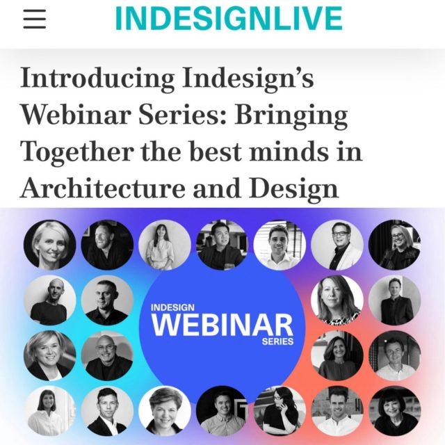 """Brought to you by @indesignlive Eid will be joining all the best of the industry to talk the new world order! . Mark up your diaries and set a recurring reminder in your iCal, because Indesign's ground breaking Webinar series """"Design After Distancing"""" is here! Join us every second Wednesday as Acting Editor Jan Henderson leads discussions that will examine the future of architecture and design, with exclusive insights and commentary from our industry's leading names. . Join @janhenderson_ for six insightful sessions every second Wednesday commencing 13th May as she talks with this exceptional and renowned group of practitioners. . #architectseat® #eatinteriors #eatinthemedia"""